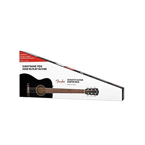 Fender CC-60S Beginner Concert Pack, Black with Gig Bag, Strap, Picks,...