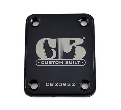 'Custom Built' Engraved Guitar Neck Plate - Standard 4 Bolt Style -...