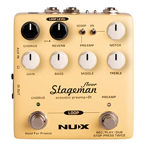 NUX Stageman Floor Acoustic Preamp/DI Pedal with Chorus, Reverb,Freeze...