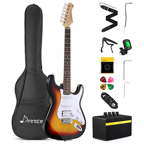 Donner DST-102S Solid Body 39 Inch Full Size Electric Guitar Kit...