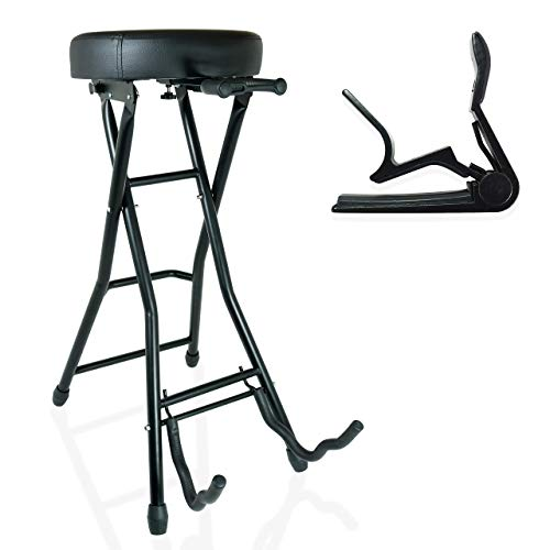 36 Degrees Guitar Stool and Stand Combo Black Foldable Holds Both...