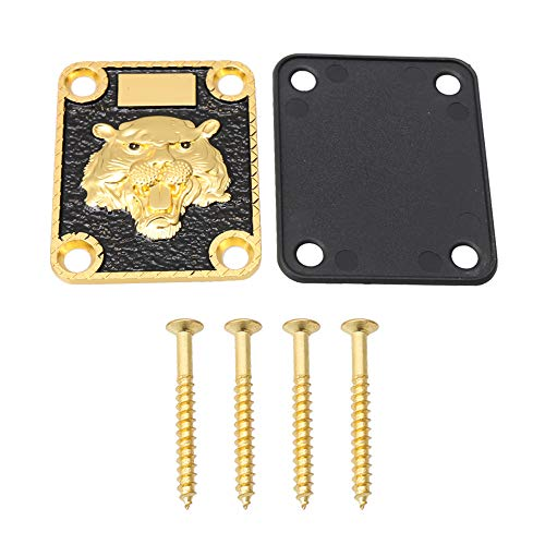 Mxfans Gold and Black Neck Plate Engraved Animal Head Pattern&Screws...