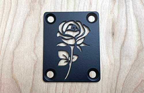 ROSE NECK PLATE FOR YOUR CUSTOM GUITAR OR BASS - INDUSTRIAL BLACK