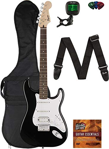 Fender Squier Bullet Stratocaster HSS Hard Tail - Black Bundle with...