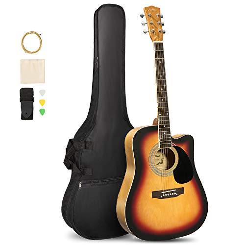 ARTALL 41 Inch Handcrafted Acoustic Cutaway Guitar Beginner Kit with...