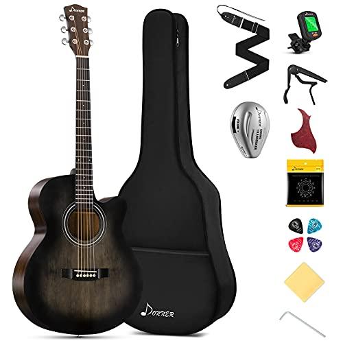 Donner 40 Inch Acoustic Guitar Cutaway Acustica Guitarra Beginner...