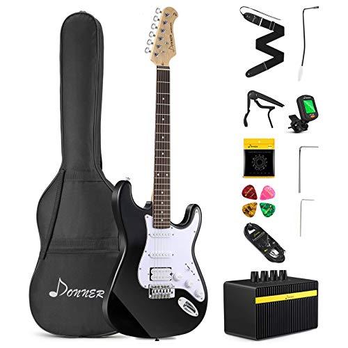 Donner DST-102B 39 Inch Electric Guitar Beginner Kit Solid Body Full...