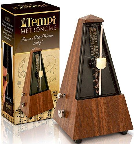 Tempi Metronome for Musicians (Plastic Mahogany Grain Veneer) with 2...