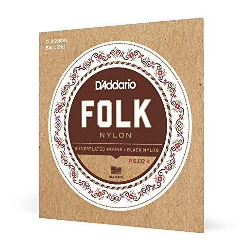 D'Addario EJ32 Folk Nylon Guitar Strings, Ball End, Silver Wound/Black...