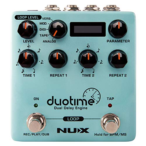 NUX Duotime Stereo Delay Pedal with Independent Time,Analog Delay,Tape...