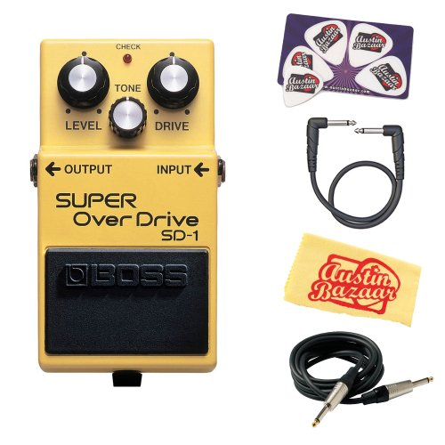 Boss SD-1 Super Overdrive Bundle with Instrument Cable, Patch Cable,...