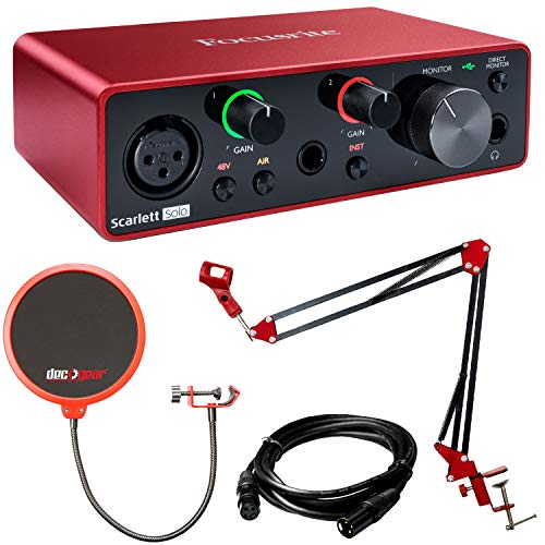 Focusrite Scarlett Solo USB Audio Interface (3rd Gen) with Deco Gear...