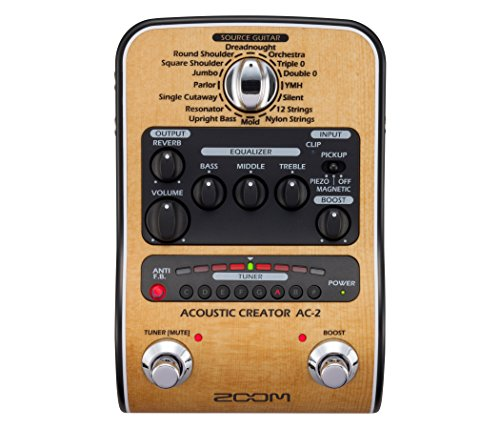 Zoom AC-2 Acoustic Creator, Acoustic DI with Tone Restoration, Tuner,...