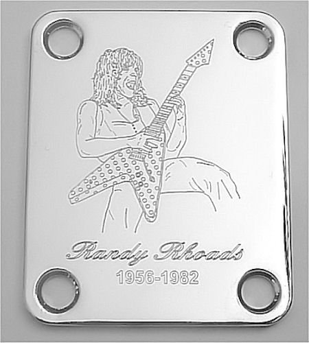 GUITAR NECK PLATE Custom Engraved Etched - RANDY RHOADS Ozzy - CHROME