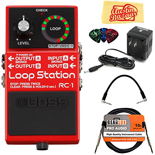 Boss RC-1 Loop Station Bundle with Power Supply, Instrument Cable,...
