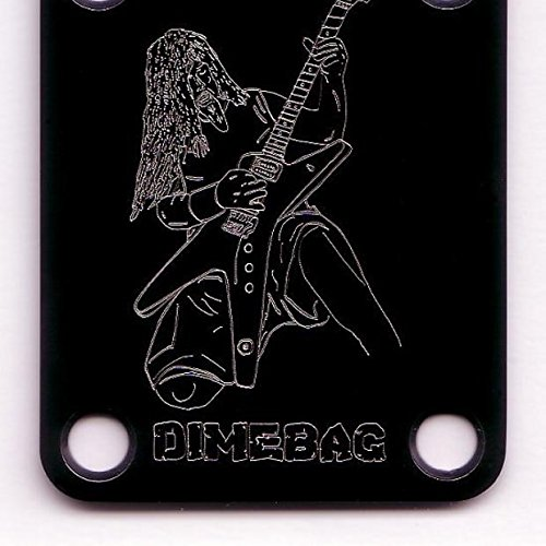 GUITAR NECK PLATE Etched Engraved - DIMEBAG DARRELL - BLACK