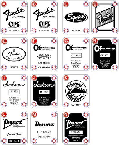 Guitar Neck Plate - Custom Engraved - Choose Design, Color and Serial...