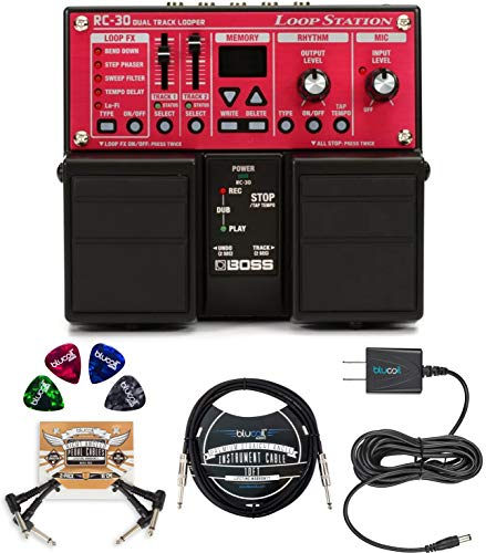 BOSS RC-30 Loop Station Bundle with Blucoil Slim 9V 670mA Power Supply...