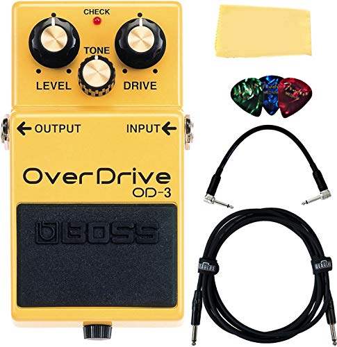 Boss OD-3 OverDrive Bundle with Instrument Cable, Patch Cable, Picks,...