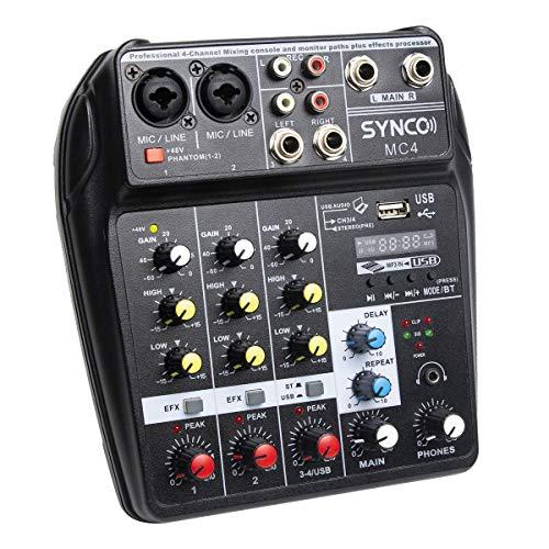 SYNCO MC4 Audio-Mixer-Bluetooth-USB-Record 4-Channel Mono Stereo Input...