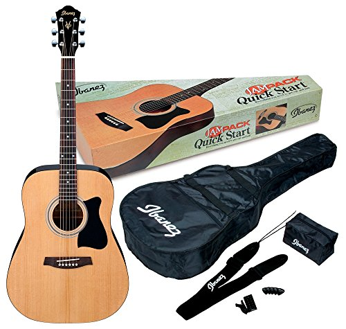 Ibanez 6 String Acoustic Guitar Pack, Ambidextrous, Natural Gloss...