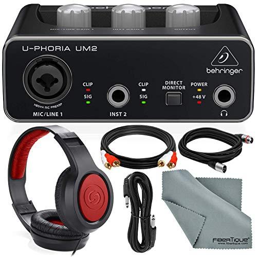 Behringer U-PHORIA UM2 2x2 USB Audio Interface and Accessory Bundle...