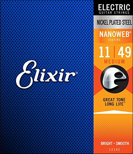 Elixir Strings Electric Guitar Strings w NANOWEB Coating, Medium...